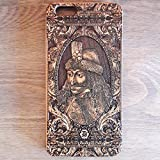Apple iPhone & Samsung Holzhülle - Ultraslim Handyhülle Echtem Holz Schutz Hülle Schale mit PC Bumper Hart Cover Case Etui Smartphone, Wood Cover Vlad Tepes Dracula Gothic theme