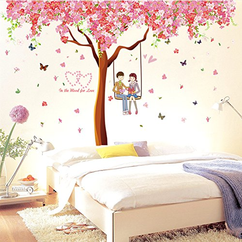 JYSPORT Nursery environment swirling butterflies Romantic cherry tree TV Wall Art Stickers Decal for Home Room Decor sofa background mural Decoration (SK3001)