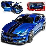 New Ray Ford Shelby Mustang GT350R VI Coupe Blau mit Schwarzen Streifen Ab 2014 1/24 Modell Auto mit individiuellem Wunschkennzeichen