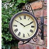 Warwick Horloge de jardin/d'extérieur avec thermomètre et support pivotant style gare 31,5cm
