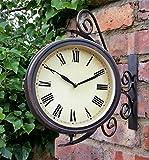 Warwick Wanduhr mit Thermometer, Drehgelenk, für den Außenbereich, 31,5cm, Bahnhofsuhr-Optik