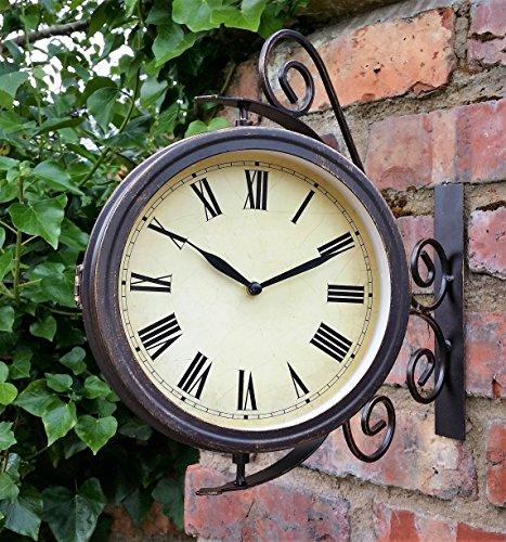 Galleria fotografica Warwick orologio da esterno per giardino, con termometro e staffa girevole - 31,5 cm