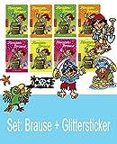 Lutz Mauder Piraten-Brause mit GLITTER-STICKER   8 Tütchen   4 Geschmacksrichtungen   Ahoi Mitgebsel Fussballparty   für Kicker