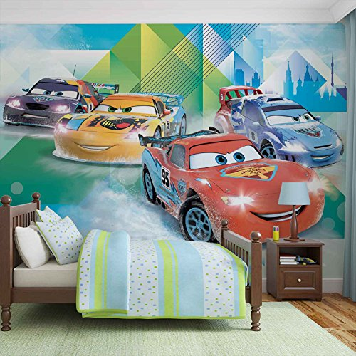 #Disney Cars Lightning McQueen Camino – Wallsticker Warehouse – Fototapete – Tapete – Fotomural – Mural Wandbild – (3211WM) – XL – 254cm x 184cm – Papier (KEIN VLIES) – 2 Pieces#