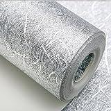KeTian Modern Luxury Thick Wallpaper de aluminio impermeable grueso Papel tapiz de pared / Techo del hotel / Papel pintado decorativo / Bar Papel color plata 1.73 'W x32.8'L =57 pies cuadrados