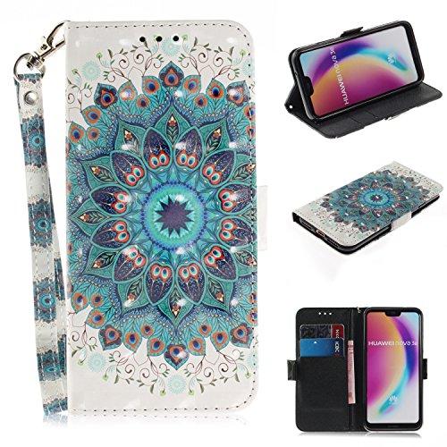 Huawei P20 Lite Hülle Leder, HUDDU Flip Case Lanyard Wallet Handyhülle Tasche Kartenfach Cover Klapphülle Schutzhülle Stand Feature Lederhülle mit Magnetic Closure - Pfau-Kranz