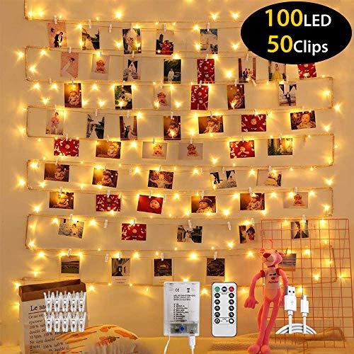 luci led per clip foto, elekin10m 100 led foto clip stringa illuminazione, lucine led decorative con usb e telocomando, 8 modalità, luci per foto da interni e esterni per festa, natalizie