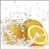 Artland Qualitätsbilder I Glasbilder Deko Glas Bilder 20 x 20 cm Ernährung Genuss Süßspeisen Obst Foto Orange D1IH Orange mit Spritzwasser
