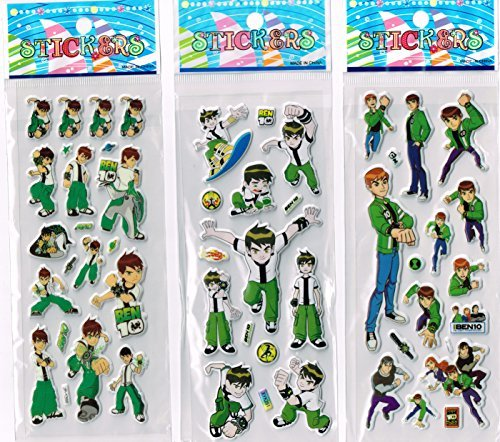 Image of 6 x Sticker Sheets - Ideal for Party Bags - Plants Vs Zombies, Angry Birds, Ben 10, Smurfs, Spiderman, Disney Princess, Frozen Stickers Elsa Stickers (Ben 10)