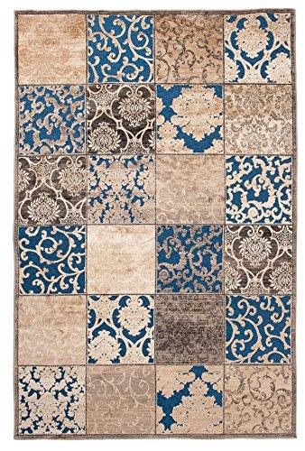 Tapiso Bohemian Teppich Vintage Kurzflor Floral Ornament Mosaik Designer Muster Braun Blau Gold Wohnzimmer ÖKOTEX 80 x 150 cm (Braun-teppiche Blau Und)