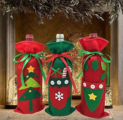 FEFEHOME Weihnachten Wein Flasche Schutzhülle Geschenk Taschen Urlaub Décor (Set von 3)-Eine C (Urlaub Geschenk-sets)