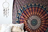 Multi-colored Mandala Tapestry Indian Wall Hanging, Bedsheet by Craftozone (Single (220x140 cms))