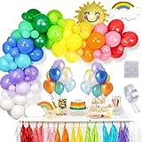 Thinbal Ballon Multicolore, 100 PCS Ballons Baudruche Couleur, Ballons Gonflable Latex Assortiment, Arche ballon Multicolore