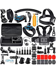 Accessories for GoPro, Gehoiya Action Camera accessories for GoPro Hero 6 Hero 5 Hero 4 GoPro Hero Session, Sport Camera Bundle for Xiaomi Yi Lightdow Apeman A70 Apeman A80 AKASO EK7000 with Case /Floating Hand Grip /Head Strap/ Chest Strap and More Gopro Hero Accessory Set