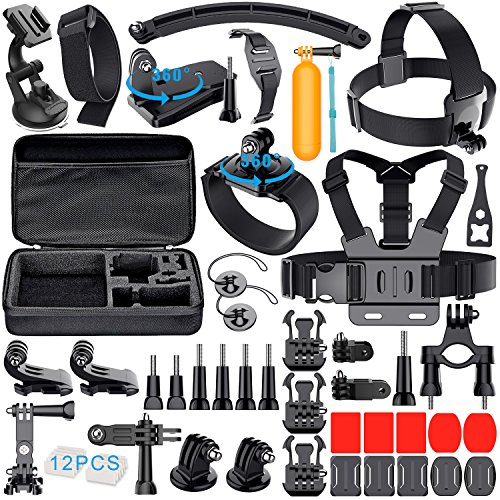 Accessoires pour Gopro avec Sac de Rangement, Gehoiya Action Kit d'Accessoires pour Caméra Gopro Hero 5 Hero 4 Session Hero 1 2 3 3+ Xiaomi Yi Sony Lightdow WiMiUS DBPOWER et la Plupart des Appareils Photo Sportifs
