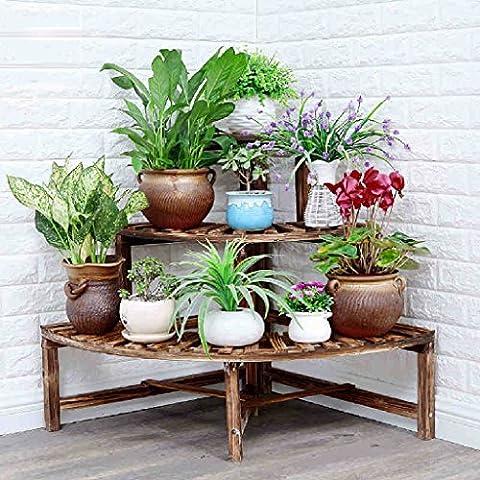 Corner Flower Racks Étagère en bois massif Pots à fleurs Coin Salon Balcon au sol Cadre de jardin