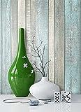 NEWROOM Holztapete Blau Vliestapete Creme Grau Landhaus,Natur schöne moderne und edle Design 3D Optik, inklusive Tapezier Ratgeber