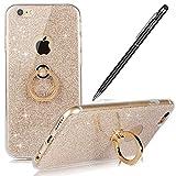 Apple iPhone 6S Plus Hülle,WIWJ Hülle Kristall Bling Glänzend Glitzer Durchsichtig Klar TPU Silikon Handy Hülle Case Schutzhülle für iPhone 6S Plus/6Plus-Golden