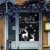 jiuyaomai Amovible Boutique Autocollant De Fenêtre en Verre Joyeux Noël Stickers Muraux De Noël Cerf Flocon De Neige Decal Sticker Mural pour Home Window Stickers70x56cm
