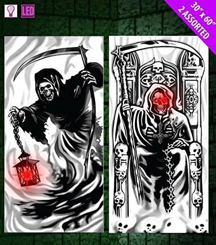 Davies 11775 1x Skelett/Sensenmann Halloween Licht bis Tür Cover-Design zufällig (Halloween Dekoration Sensenmann)