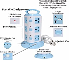 Troops Tower Spike Buster - 3 Floor - 3 USB 12 Socket Surge Protector (White, Blue) (3 Tower)