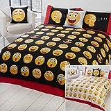 Just Contempo Bettwäsche-Set, Motiv: Emoji-Icon, Bettbezug-Set, mehrfarbig, Einzelbett