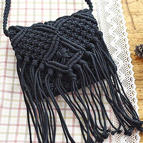 Gosear Quaste aus Baumwolle Stroh Gewebt Umhängetasche Damen Grob Gestrickt Gefüttert Schultertasche Weiß Schwarz