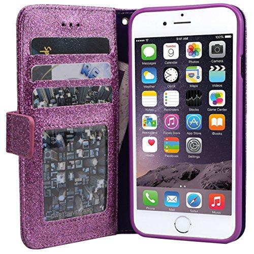 Yokata für iPhone 6 / iPhone 6s Hülle Glitzer Flip Leder Wallet Bling Case Stickerei Rose Muster Ledertasche mit Kartenfach Standfunktion Weich Silikon Telefon Kasten - Lila + 1x Kapazitive Feder Lila