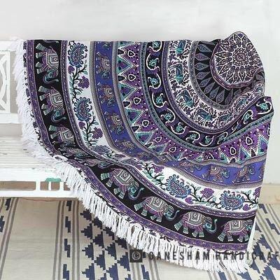 ganesham artesanía–indio Mandala redondo Roundie Beach manta tapiz Hippy Boho Gypsy algodón...