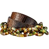 GUT INSTINKT - Cintura da Donna Artigianale di Lusso in Pelle Italiana di Serpente di Pitone Reale - PIRAHA