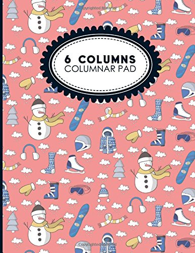 "6 Columns Columnar Pad: Accounting Bookkeeping Notebook, Accounting Record Keeping Books, Ledger Paper Pad, Cute Winter Skiing Cover, 8.5"" x 11"", 100 pages: Volume 7 (Six Columns Columnar Pad)"