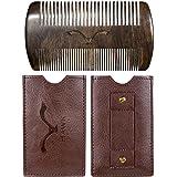 HAWK Outdoors BART-KAMM natürliche organische Bart-Pflege aus Mango-Holz – klassisch inklusive Etui mit Gürtel-Schlaufe – Vintage-Look Box als Premium Geschenk zur Bart-Bürste – Kein Sandelholz Geruch