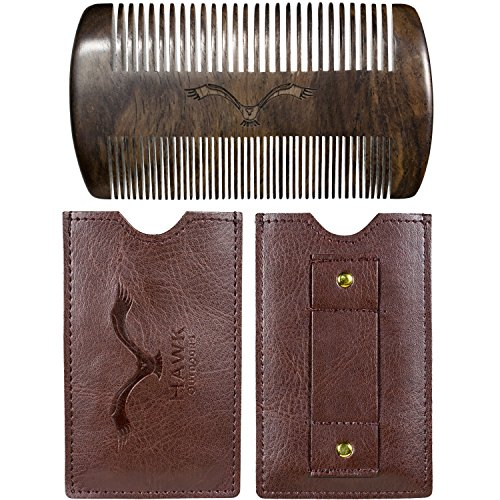 HAWK Outdoors BART-KAMM natürliche organische Bart-Pflege aus Mango-Holz - klassisch inklusive Etui mit Gürtel-Schlaufe - Vintage-Look Box als Premium Geschenk zur Bart-Bürste - Kein Sandelholz Geruch