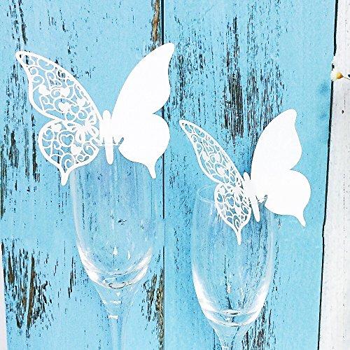 JZK® 50 x Weiß Schmetterling ans Glas, Schimmer perle-weiss Platzkarten Tischkarten Namenskarten Glas Karte Glasanhänger Weinglas Cup Champagnerglas Deko Tischdeko Geschenk Gastgeschenk für Hochzeitsfeier Geburtstage Taufe Party Festival etc. (Schmetterling 4)