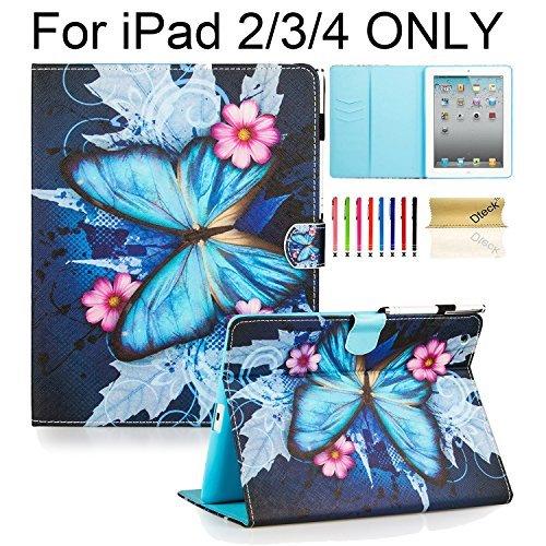 iPad 2 Hülle, iPad 3 Hülle, iPad 4 Hülle, Dteck(TM) Magnetischer Verschluss PU Ledertasche Kunstleder Etui mit Multi Ständer Licht Gweicht Hülle für Apple iPad 2/3/4, Blau Schmetterling Rosa - Ipad Blumen Cases Generation 2.