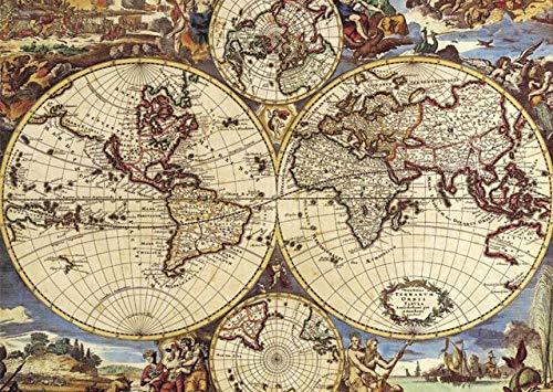 SiJOO Rompecabezas de Madera del Mapa del Mundo Antiguo, 1000 Rompecabezas de Papel, Rompecabezas, Tarjeta Blanca Juguetes educativos para niños Adultos