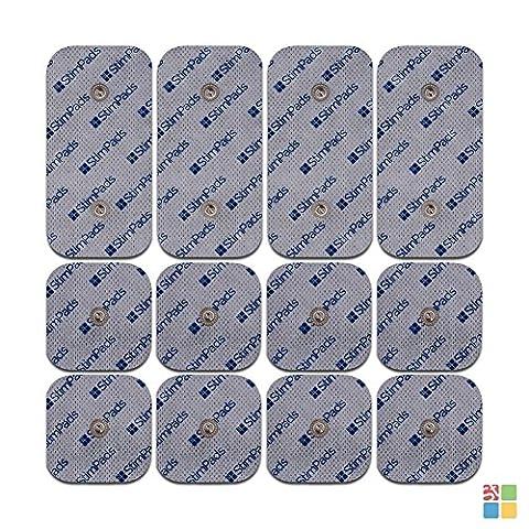 StimPads® für Compex®, 12 Stück Sparpack (4 X 50X100mm mit ZWEI Druckknöpfen und 8 X 50X50mm), garantiert 100% mit Compex® kompatibel, leistungsstarke und langlebige Elektroden! Sparen Sie 65% im Vergleich zum Original!