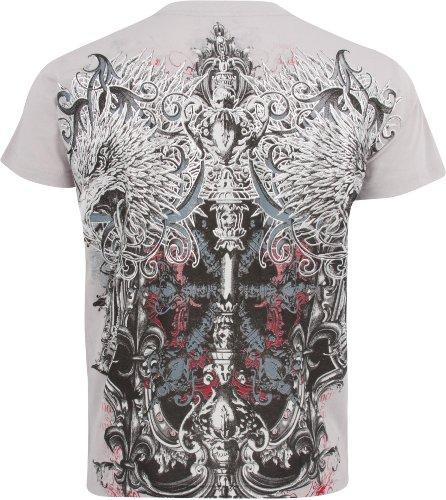 Sakkas Eagle Head and Fleur de Lis T-Shirt aus Baumwolle für Männer Grau