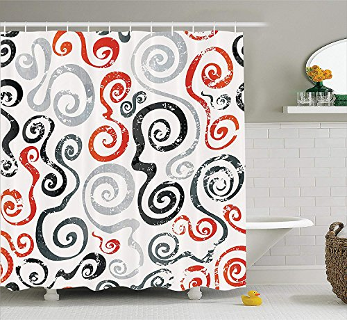 LZHsunni88 Grunge Home Decor Shower Curtain by, Swirls Pattern with Grunge Effect Baroque Geometric Ornament Funky Design Art, Polyester Fabric Bathroom Set, 84 Inches Extra Long, Grey Orange White -