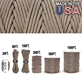 Golberg 340,2 kilogram Paracord/Corde de parachute – Qualité militaire US – Authentic tests de type IV 340,2 kilogram résistance à la traction solide Paracorde – Mil-c-5040-h – 100% nylon – fabriqué aux États-Unis