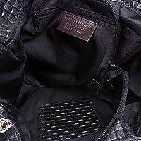 FIRENZE ARTEGIANI.Bolso de mujer piel auténtica.Bolso cuero genuino trenzado geométrico.diseño exclusivo. Asa hombro diseño.MADE IN ITALY.VERA PELLE ITALIANA.31x25x17cm