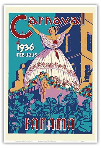 Pacifica Island Art Karneval in Panama vom 22-25 Februar, 1936 - Es lebe die Königin - Vintage Retro Welt Reise Plakat Poster c.1936 - Kunstdruck - 33cm x 48cm - Die Königin-plakat