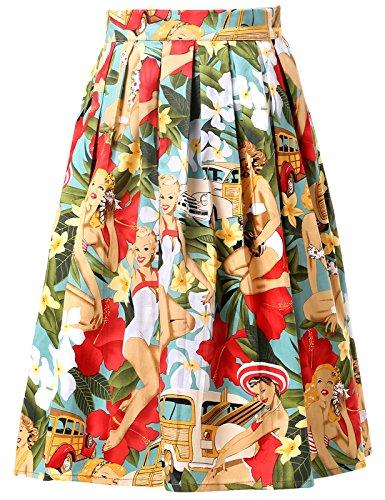 Grace karin®, gonna corta da donna ad altezza ginocchio in stile vintage anni '50 (cl6294) cl6294-7 x-large