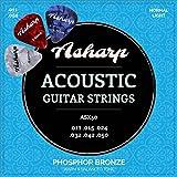 Asharp cordes en acier pour guitare folk – Jeu de cordes premium d'une sonorité exceptionnelle – Tirant leger pour guitare acoustique