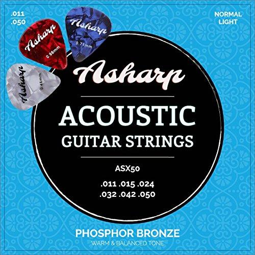 Asharp Gitarrensaiten für Westerngitarre ★ inkl. 3 Plektren ★ Premium Stahl-Saiten Satz für Akustikgitarre (Weich E-gitarren-saiten)