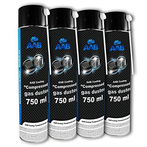 AAB Druckluftspray 4 x 750ml | Druckgasreiniger | Druckluft für die Multimedia- und Bürogeräte, Tastatur, Bildschirmen, Spielekonsolen, Computergehäuse | Luftdruck-spray | Reinigungsspray