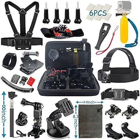 Vanwalk Esencial Kit de Accesorios para Camara de Accion Gopro Hero 5 4 3+ Black Silver, SJcam SJ4000 SJ5000 SJ6000 SJ7000, Xiaomi Yi, DBPOWER - (22 en 1)