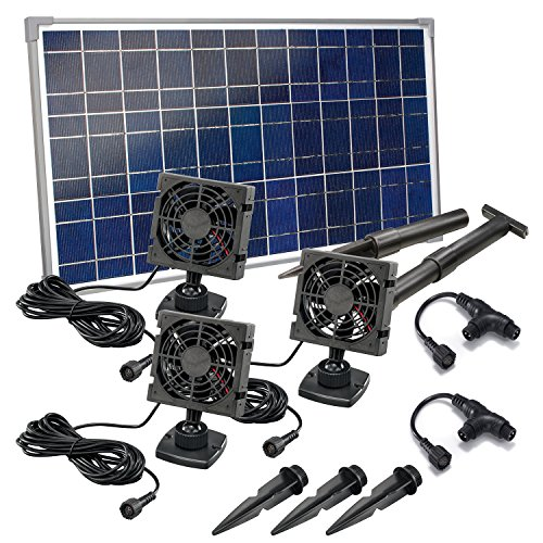 Solar Lüfterset 25W TRIO Luftstrom max. 270m3 3 x Lüfter 92x92mm Solarventilator Belüftungsset Ventilator 101031
