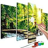 murando - Malen nach Zahlen Wald Natur 100x50 cm 5 TLG Malset mit Holzrahmen auf Leinwand für Erwachsene Kinder Gemälde Handgemalt Kit DIY Geschenk Dekoration n-A-0607-d-m
