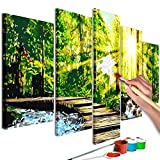 murando - Malen nach Zahlen Wald Natur 100x50cm 5 TLG Malset DIY n-A-0607-d-m